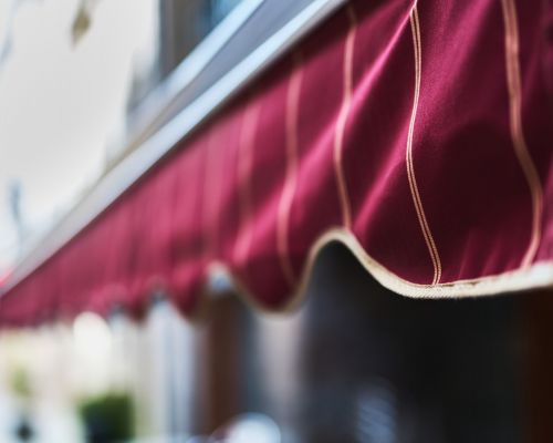 Red Awning with Binding Tape