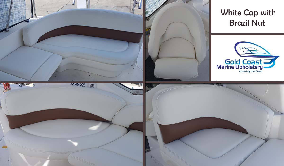 Very curvy seat fit out by Gold Coast Marine Upholstery